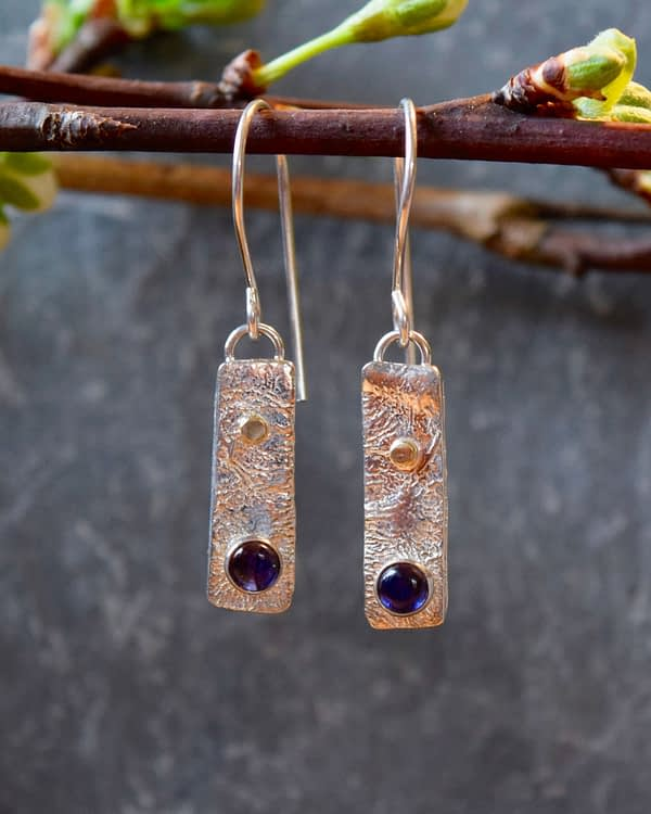 reticulated iolite silver earrings