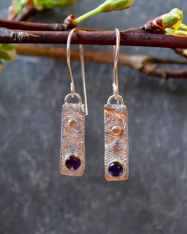 reticulated iolite silver earrings