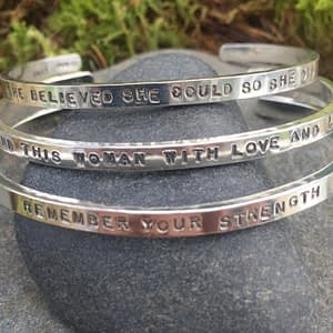 Saucy Jewelry hand stamped sayings bracelets