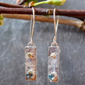 Swiss topaz sterling silver and 18k gold earrings