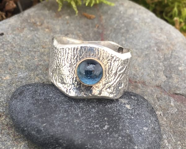 water warrior reticulated silver ring