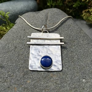 asian flair pendant - blue gemstone