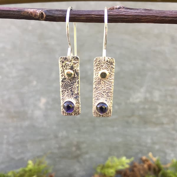 reticulated silver iolite earrings