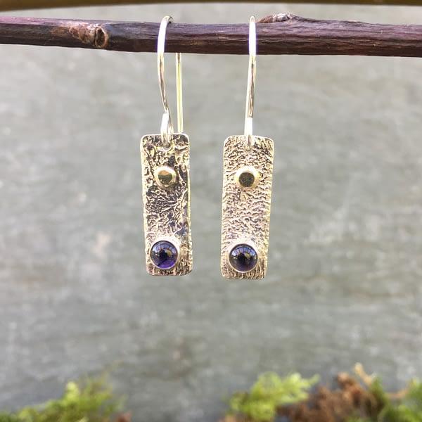 reticulated silver iolite earrings