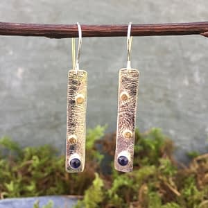 reticulated silver and gold earrings