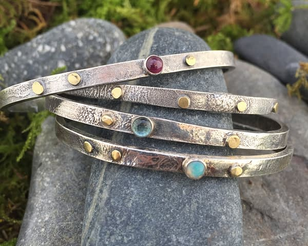 Saucy Jewelry reticulated silver and gold cuff with single gemstone - multiple variations