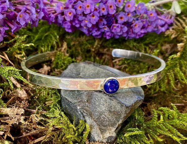 Saucy Jewelry narrow hammered cuff with gemstone