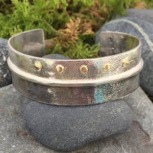 Darkness and Light silver and gold bracelet by Saucy Jewelry