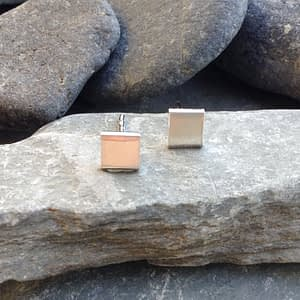 square stud silver earrings