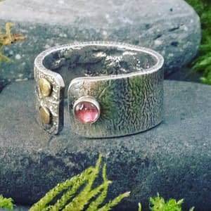 opening ring with pink tourmaline