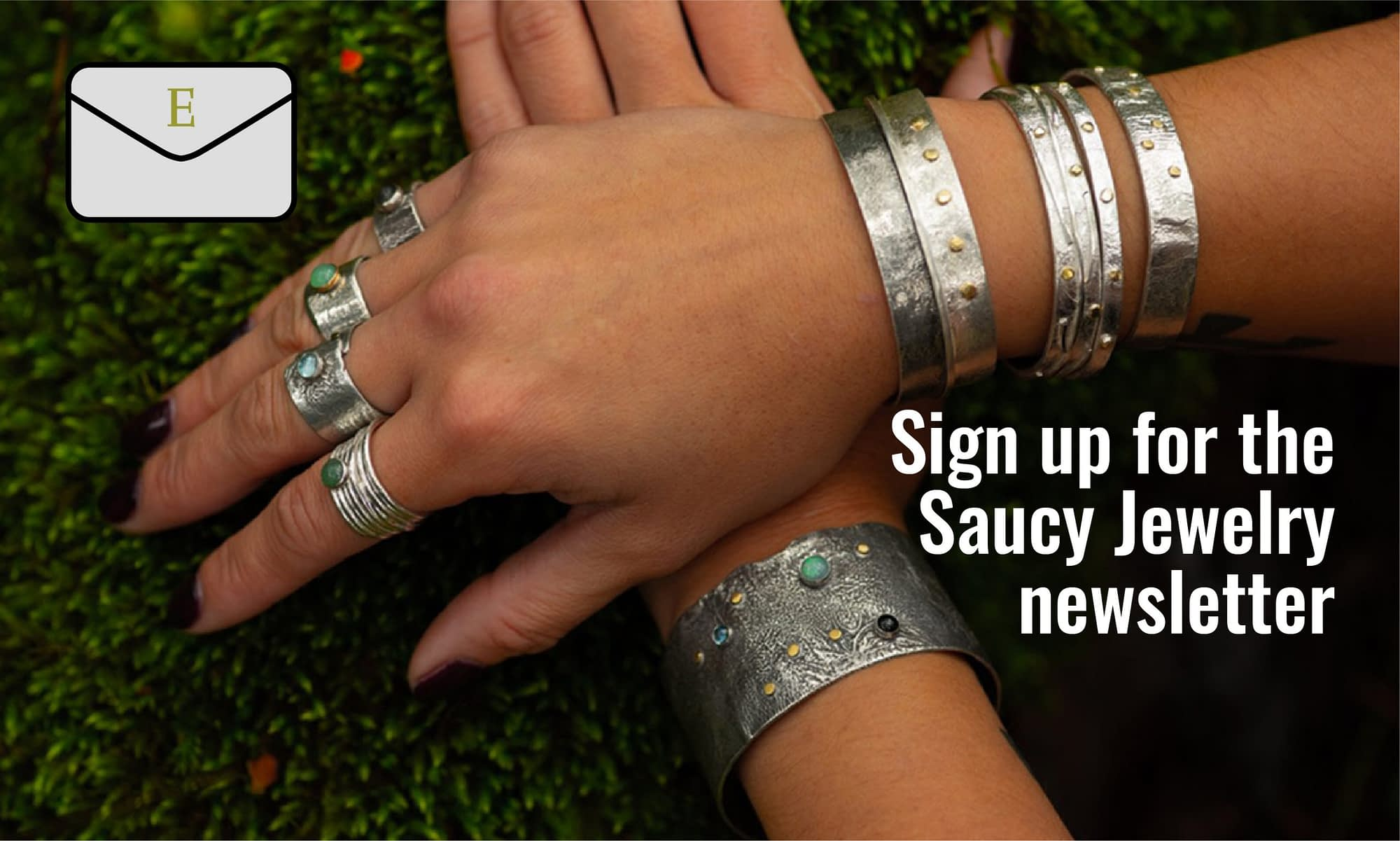 Newsletter signup image with jewelry
