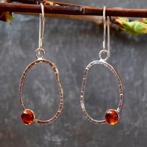 oval passage earrings with gemstone