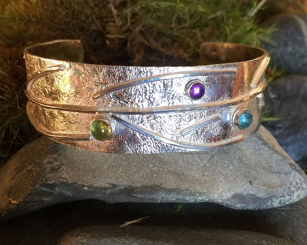 Saucy Jewelry Branching Out multi-gemstone silver bracelet | greens