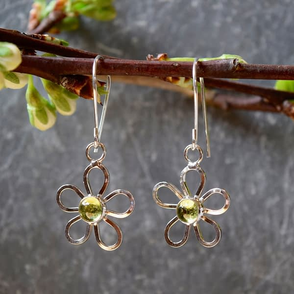 Saucy Jewelry dangling silver earrings with small gems