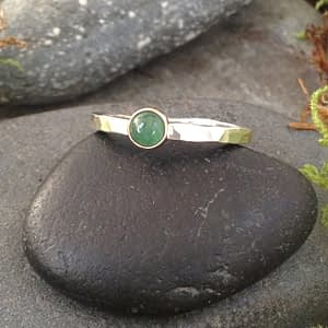 simple elegance stacker ring with emerald