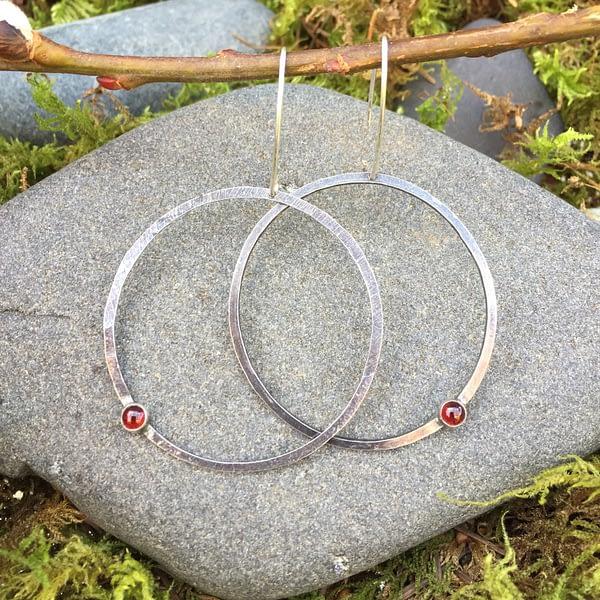 gemstone hoopla earrings