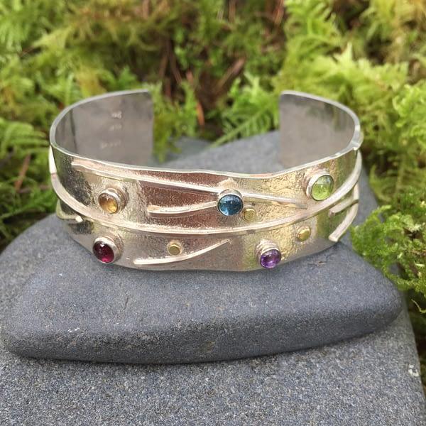 tree of abundance silver bracelet with gemstones