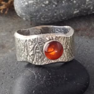 Organic! reticulated ring with gemstone by Saucy Jewelry